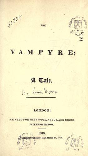 Vampyre A Tale 1819